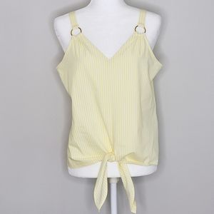 Michael Kors Yellow Striped Front Tied Top